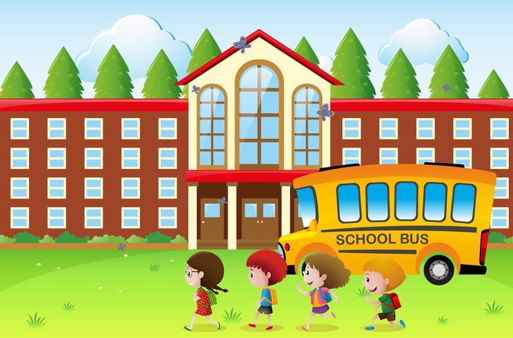 Des enfants heureux vont à l'école vecteur