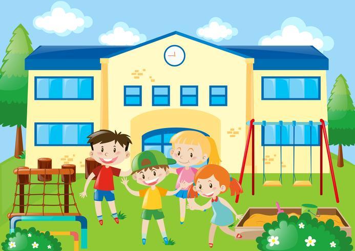 Quatre étudiants dans la cour d'école vecteur