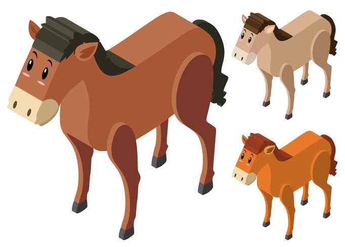 Conception 3D pour chevaux en trois couleurs vecteur