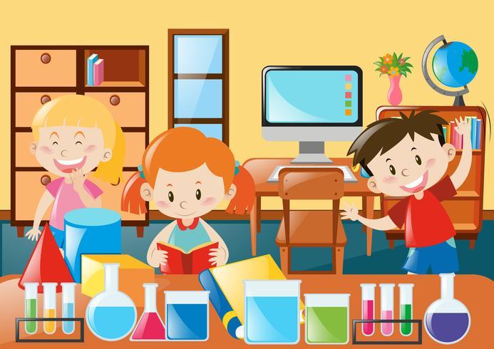 Enfants apprenant en classe de sciences vecteur