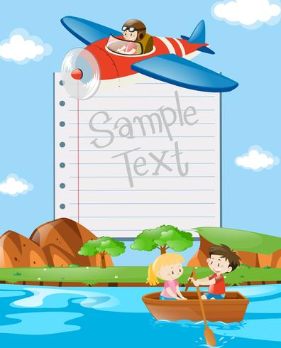 Modèle de papier avec des enfants en bateau et en avion vecteur