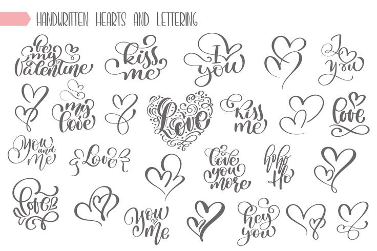 Grand ensemble écrit à la main sur l'amour vecteur