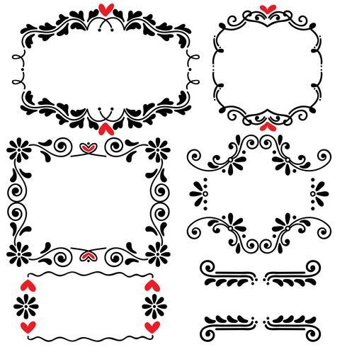 Illustration vectorielle de main dessinée ligne dessiné frontière frontière mariage art vecteur