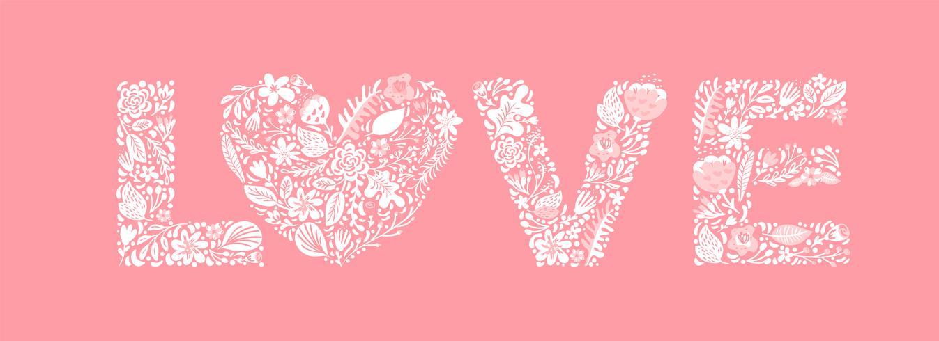Mot d'été floral Love vecteur