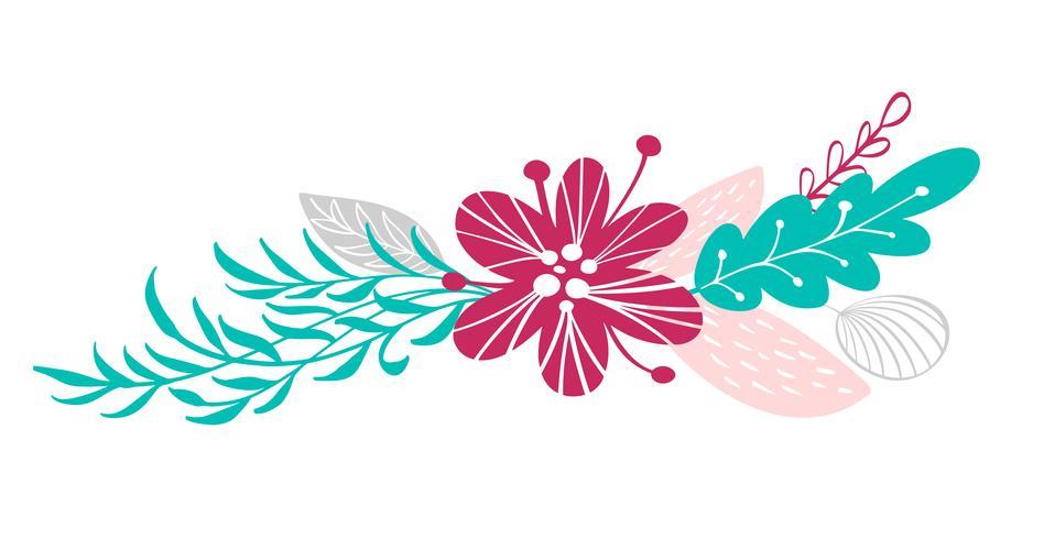 fleurs bouquet et éléments floraux isolés sur fond blanc dans un style scandinave. Illustration vectorielle dessinés à la main vecteur