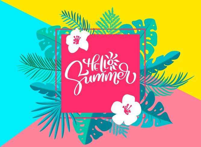 Texte Bonjour l'été dans un cadre de feuilles de palmier à fleurs géométriques vecteur