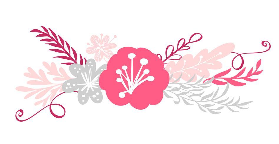 bouquet de fleurs et éléments floraux vecteur