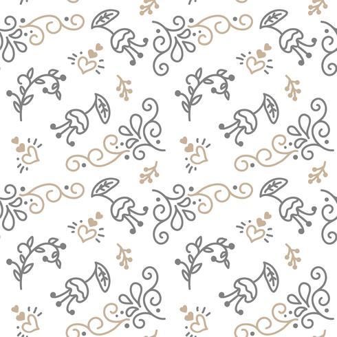Modèle sans couture avec feuilles peintes à la main dans un style scandinave vecteur