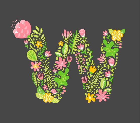 Été Floral Lettre W vecteur