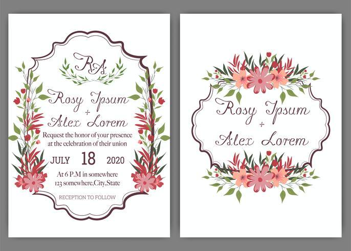 Les cartes de mariage élégantes sont constituées de différentes sortes de fleurs. vecteur