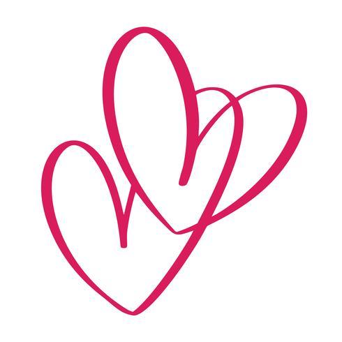 Signe de coeur deux amour. Icône sur fond blanc Symbole romantique lié, rejoindre, passion et mariage. Modèle de t-shirt, carte, affiche. Élément plat design de la Saint-Valentin. Illustration vectorielle vecteur