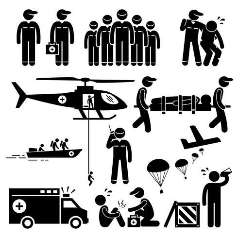 Icônes de pictogramme de bonhomme allumette équipe de secours d'urgence. vecteur