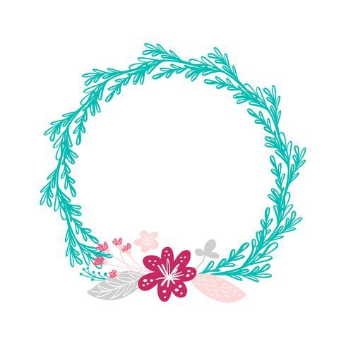 couronne florale bouquet fleurs vecteur