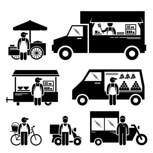 Véhicules alimentaires mobiles Camion Camion Van Wagon Bicyclette Panier Chariot Stick Figure Icônes Pictogramme. vecteur