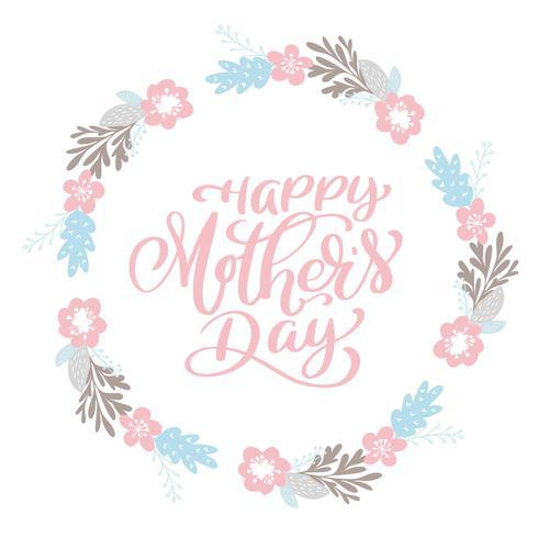 Couronne de texte heureuse fête des mères avec des fleurs, tag, icône vecteur
