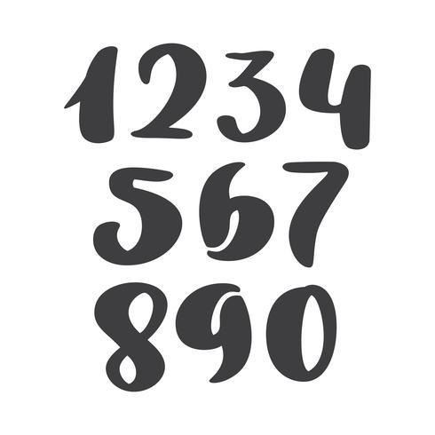 ensemble de vecteurs de nombres d'encre calligraphique. ABC pour votre conception, lettrage de la brosse, police cursive moderne de style pinceau manuscrite isolée sur fond blanc vecteur