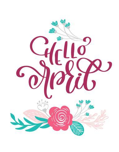 Bonjour avril Texte dessiné à la main et design pour carte de voeux vecteur