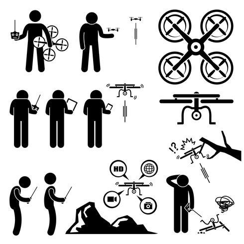 Homme contrôlant le drone volant icônes de pictogramme de bonhomme allumette quadricoptère. vecteur