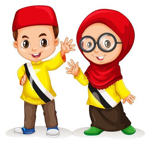 Garçon et fille du Brunei vecteur