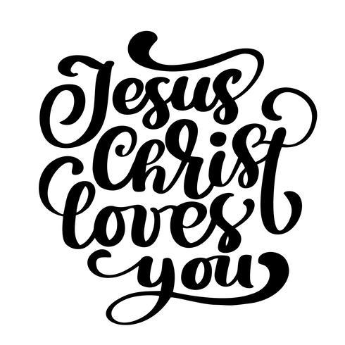 Dessiné à la main, Jésus-Christ t'aime vecteur
