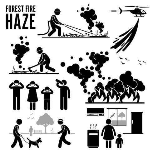 Pictogramme Problèmes de feux de forêt et de brouillards. vecteur