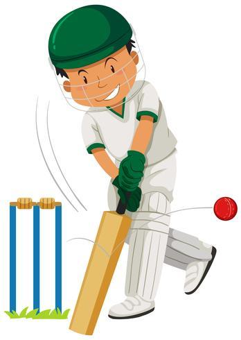 Homme jouant au cricket vecteur