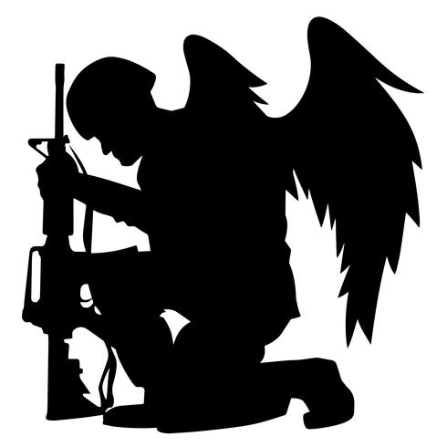 Soldat d'ange militaire avec ailes, illustration vectorielle de silhouette à genoux vecteur