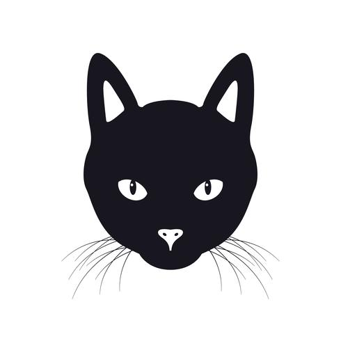 Illustration vectorielle de chat noir visage vecteur