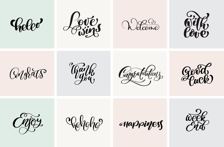 Bienvenue, merci, félicitations, bonne chance, week-end, etc. Définissez des citations positives de la calligraphie moderne vectorielle et des éléments dessinés à la main. Concept typographique Utilisable pour les cartes, affiches, superpositions de photo vecteur