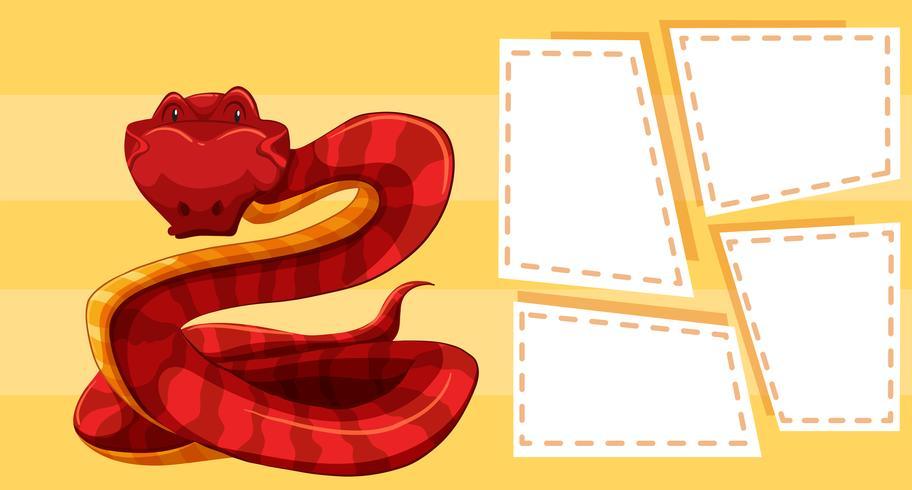 Serpent sur gabarit jaune vecteur