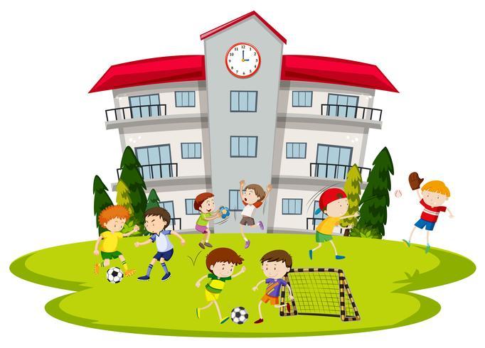 Garçons jouant au football à l'école vecteur
