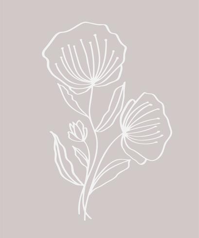 Fleurs modernes dessinés à la main, dessin et croquis floraux avec dessin au trait, illustration vectorielle, conception de mariage pour t-shirts, sacs, affiches, cartes de voeux vecteur
