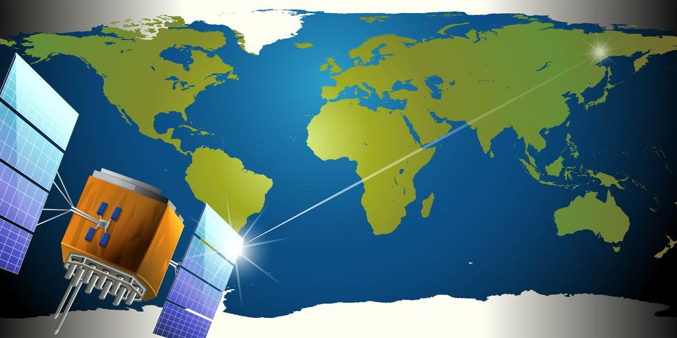 Satellites dans l'espace extérieur vecteur