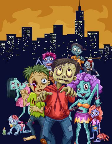 Zombies marchant dans la ville vecteur