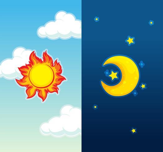 Scène de jour et de nuit vecteur