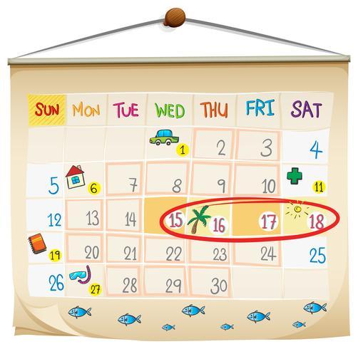 Un calendrier vecteur