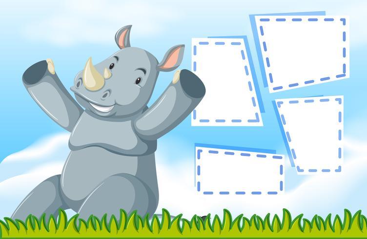 Un rhinocéros sur une note vide vecteur