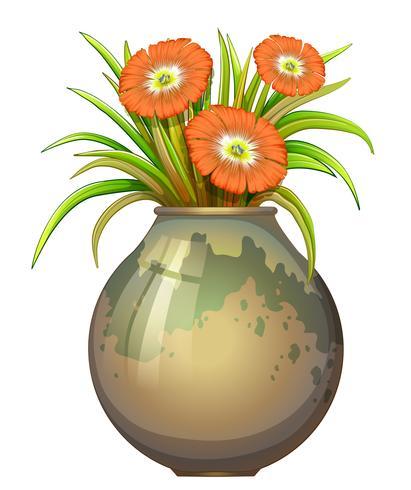 Un grand pot avec des fleurs vecteur