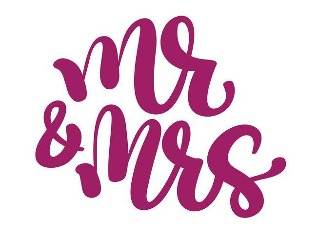M. et Mme Écrit à la main avec un stylo et de l'encre pointus puis des mots de mariage traditionnels autotracés vecteur