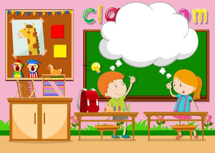 Garçon et fille dans la salle de classe vecteur