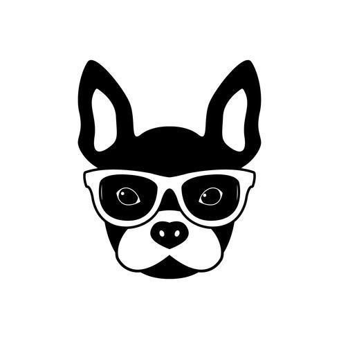 Portrait de bouledogue français avec des lunettes, style plat noir et blanc. vecteur