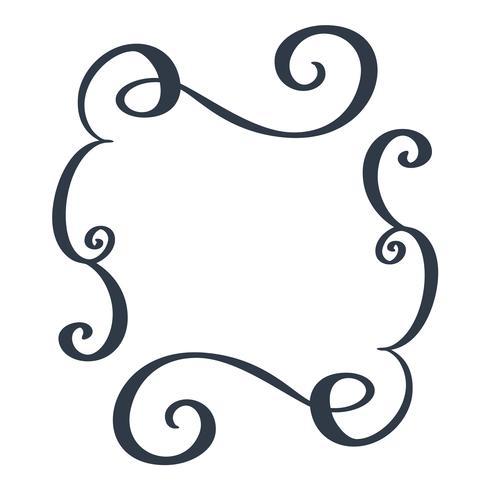 Cadres décoratifs et frontière rectangle standard dessinés à la main séparateur de s'épanouir éléments de concepteur de calligraphie. Illustration de mariage vintage de vecteur isolé sur fond blanc