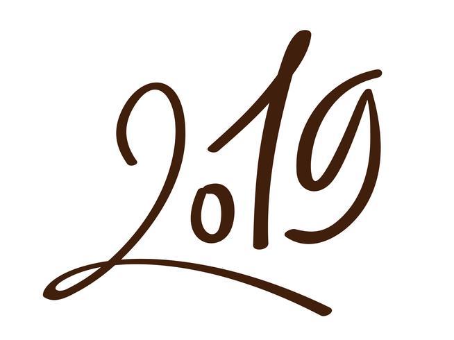 Modèle de conception de carte de voeux avec calligraphie chinoise 2019 Nouvel An grunge numéro 2019 lettrage dessiné à la main. Illustration vectorielle vecteur