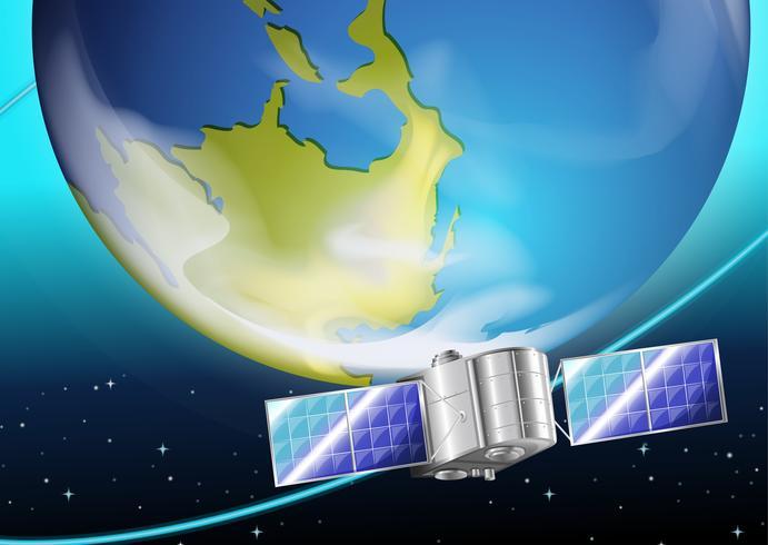 Un satellite près de la planète vecteur