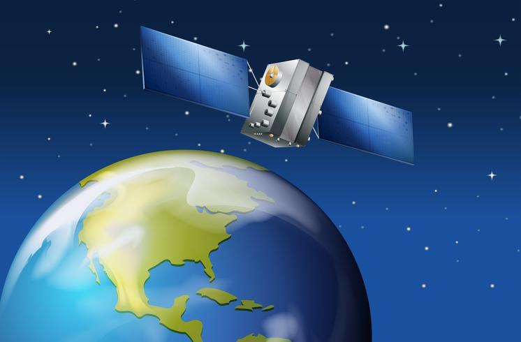 Satellite près de la planète Terre vecteur