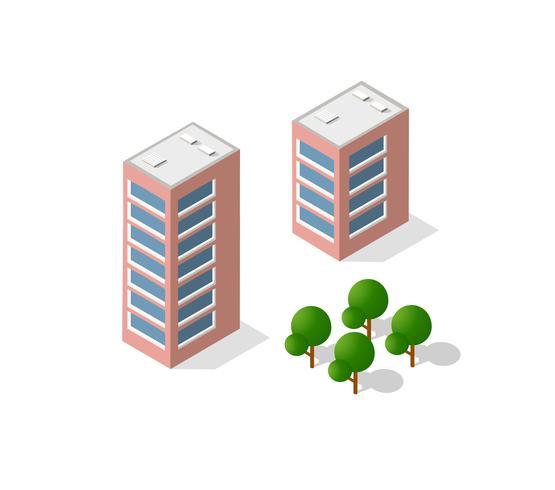Illustration vectorielle isométrique d'une ville moderne vecteur
