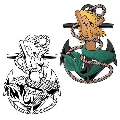 Femme sirène sur illustration vectorielle ancre vecteur