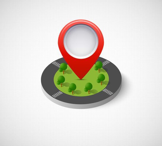 Icône de broche isométrique sur la carte de navigation vecteur