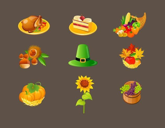 Pack de vecteurs d'icônes de Thanksgiving vecteur
