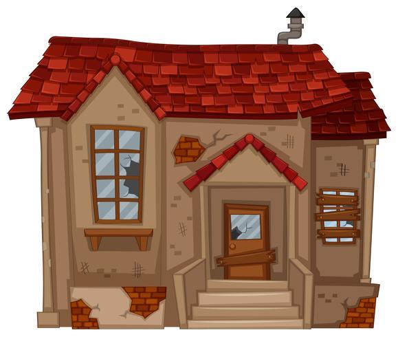 Maison en brique en mauvais état vecteur